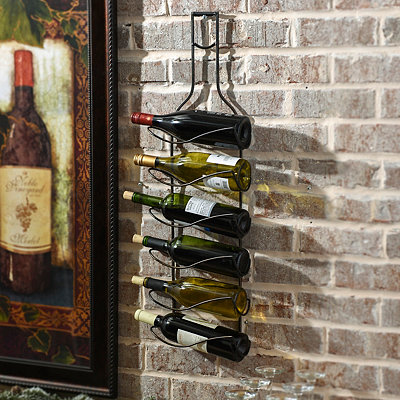 Black Metal Wine Bottle Holder Plaque