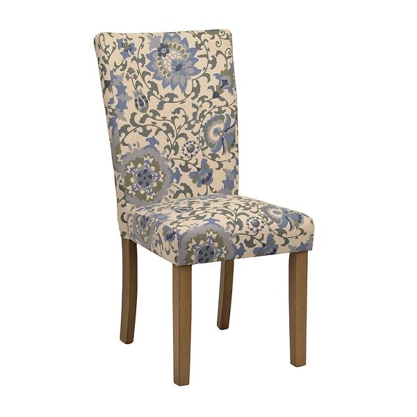 blue floral parsons chair