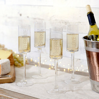 Etched Champagne Toasting Flutes, Set of 4