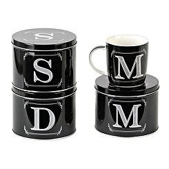 Black Monogram Mug with Tin
