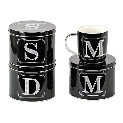 Black Monogram Mug with Tin