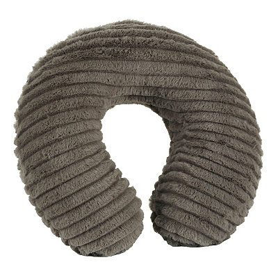 Faux Fur Gray Memory Foam Neck Pillow