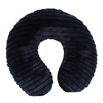 Faux Fur Navy Memory Foam Neck Pillow