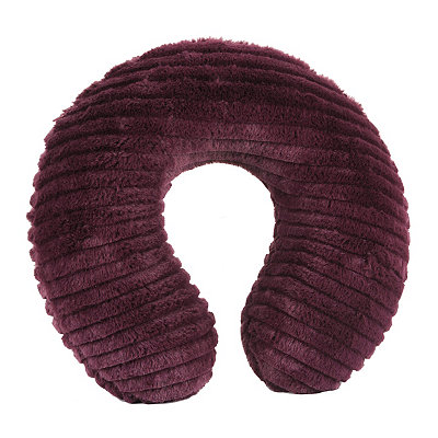Faux Fur Plum Memory Foam Neck Pillow