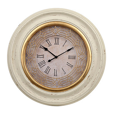 La Scala Distressed White and Gold Clock