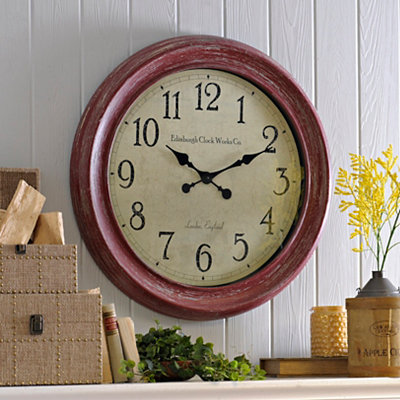 Distressed Red Celebrity Clock