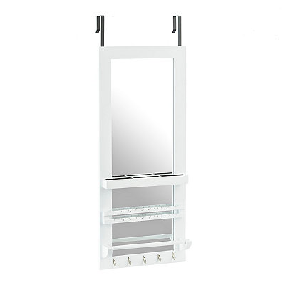 White Over-the-door Jewelry Valet Mirror