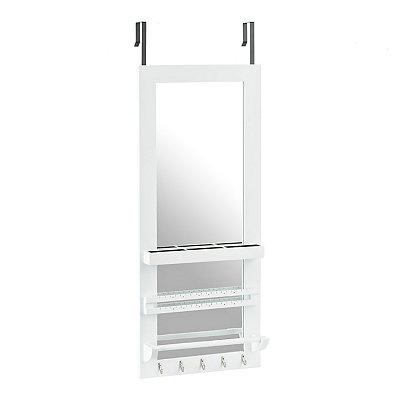 White Over-the-door Jewelry Valet Mirror