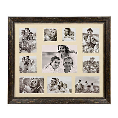 Distressed Black 10-Opening Collage Frame