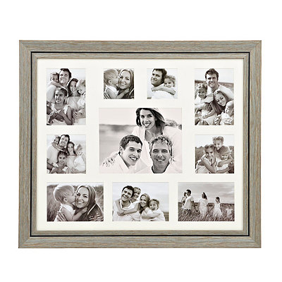Distressed Natural Blue 10-Opening Collage Frame