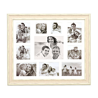 Distressed White 10-Opening Collage Frame
