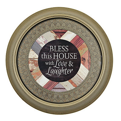 Bless This House Round Framed Art Print