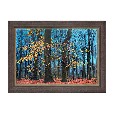 Brown and Blue Trees Framed Art Print