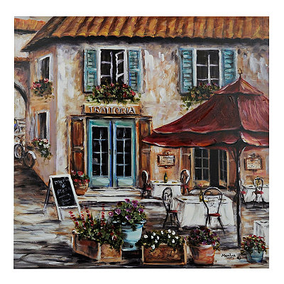 Italian Blue Shutter Café Canvas Art Print
