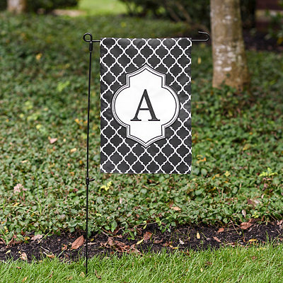 Black and White Quatrefoil Monogram Flag Sets