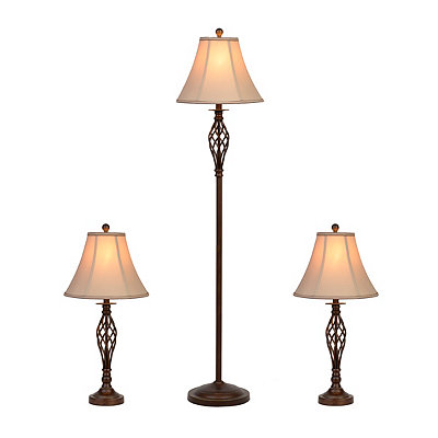 Barclay Brass Floor and Table Lamps, Set of 3