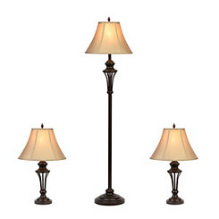 Brockton Metal Floor and Table Lamps, Set of 3