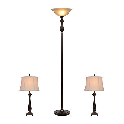 Madison Bronze Torchiere and Table Lamps, Set of 3
