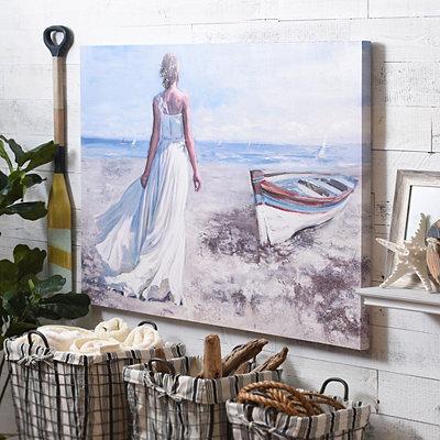 Beachside Stroll Canvas Art Print