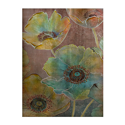 Blooms in Turquoise Canvas Art Print
