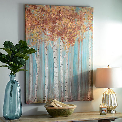 Golden Birch Forest Canvas Art Print