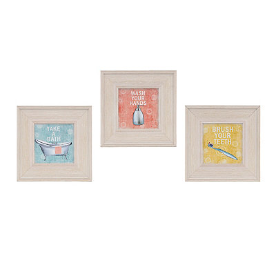 Vintage Bathroom Framed Art Prints, Set of 3