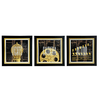 Lights, Camera, Action Framed Art Prints, Set of 3