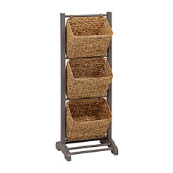 Gray 3-Tier Magazine Basket Tower