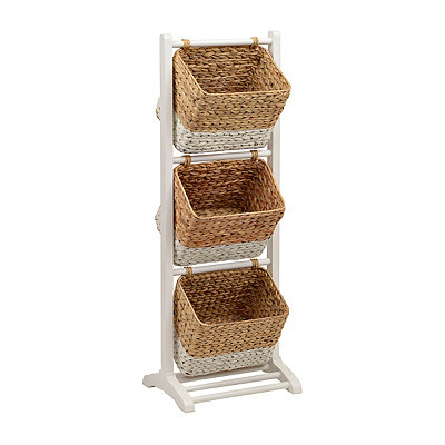 White 3-Tier Magazine Basket Tower