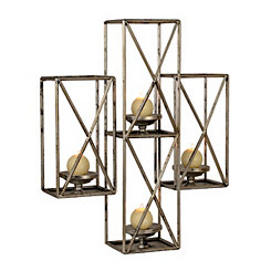 Silver Iron Tetra Wall Candle Holder