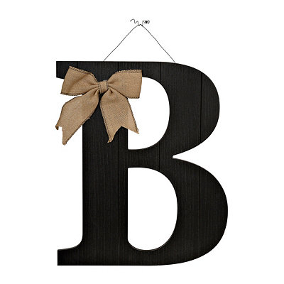 Black Beadboard Monogram B Wooden Plaque