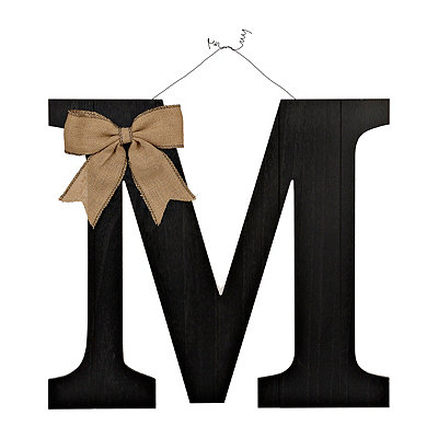 Black Beadboard Monogram M Plaque