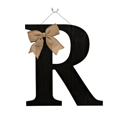 Black Beadboard Monogram R Wooden Plaque