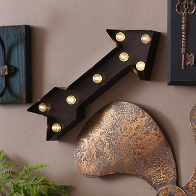Bronze LED Arrow Metal Plaque