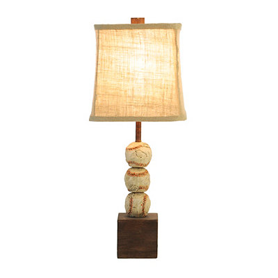 Vintage Stacked Baseball Table Lamp