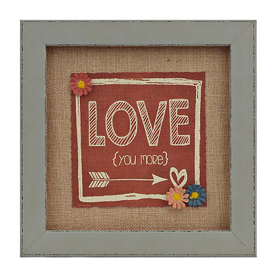 Love You More Burlap Framed Art Print