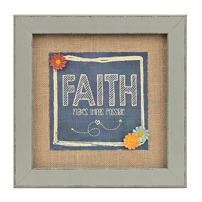 Faith Makes Possible Burlap Framed Art Print