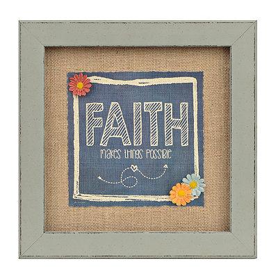 Faith Makes Possible Burlap Framed Art Print