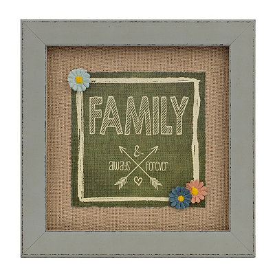 Family Always Burlap Framed Art Print