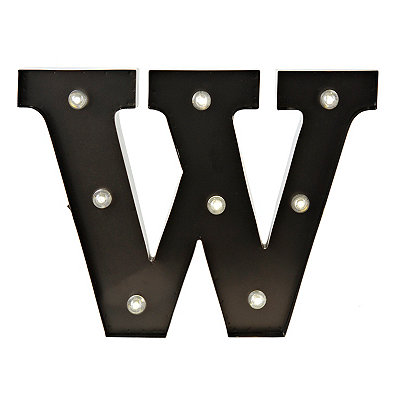 Bronze Metal LED Monogram W Plaque