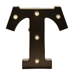 Bronze Metal LED Monogram T Plaque