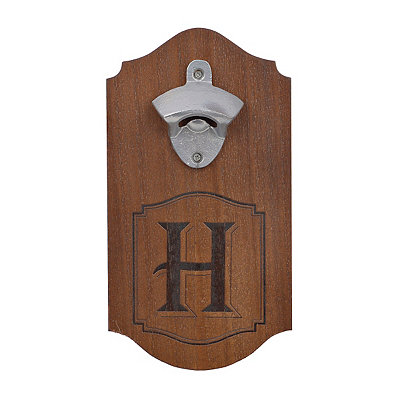 Natural Wood Monogram H Bottle Opener Plaque
