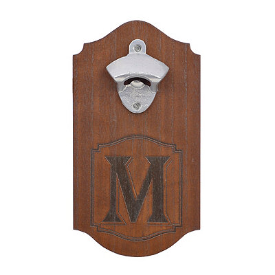 Natural Wood Monogram M Bottle Opener Plaque