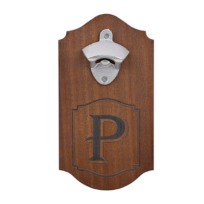 Natural Wood Monogram P Bottle Opener Plaque