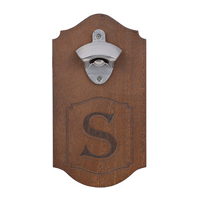 Natural Wood Monogram S Bottle Opener Plaque