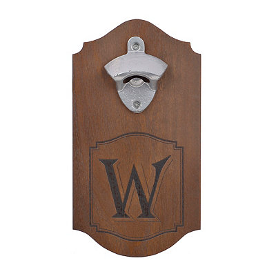 Natural Wood Monogram W Bottle Opener Plaque