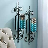 Set pf 2 Norwich Turquoise Honeycomb Sconces