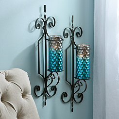 Norwich Turquoise Honeycomb Sconces, Set of 2