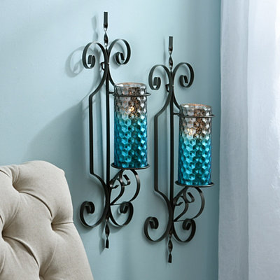 Turquoise Honeycomb Sconces, Set of 2