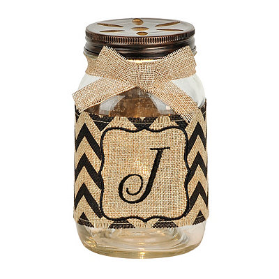 Mason Jar Monogram J Night Light